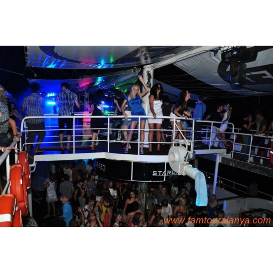 Alanya Disco Boat Tour  Night Party Boat Tour   Starcraft Boat Tour